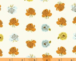 Far Far Away 2 - Roses Orange Blue Yellow on Cream by Heather Ross from Windham Fabrics
