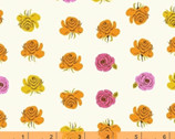 Far Far Away 2 - Roses Orange Pink Yellow on Cream by Heather Ross from Windham Fabrics