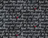 Let It Snow - Season Greetings Black from Timeless Treasures Fabric