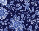 Maison des Fleurs - Jacobean Floral Navy by Kanvas Studio from Benartex Fabrics