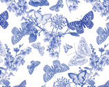 Maison des Fleurs - Butterfly Belle White by Kanvas Studio from Benartex Fabrics