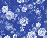Maison des Fleurs - French Garden Roses Cobalt Blue by Kanvas Studio from Benartex Fabrics