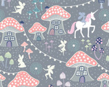 Fairy Nights GLOW In Dark - Mushroom Village Dusky Grey from Lewis and Irene Fabric
