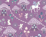 Fairy Nights GLOW In Dark - Mushroom Village Blackberry from Lewis and Irene Fabric