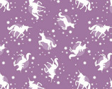 Fairy Nights GLOW In Dark - Unicorn Spots Soft Blackberry from Lewis and Irene Fabric