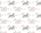 Pretty Little Woods FLANNEL - Jumping Horses White from Camelot Fabrics