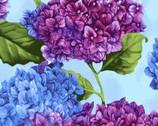 Hydrangea Harmony - Blooms Multi Blue by Cedar West from Clothworks Fabric
