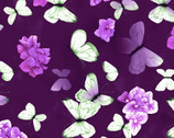 Hydrangea Harmony - Butterfly Blooms Dark Eggplant  by Cedar West from Clothworks Fabric