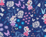 Fairy Land Fairies Blue Metallic from Timeless Treasures Fabric