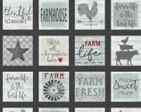 Farm Sweet Farm - Square Signs PANEL Charcoal by Contempo from Benartex Fabrics