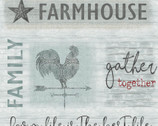 Farm Sweet Farm - Farmhouse Words PANEL Grey by Contempo from Benartex Fabrics