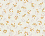 Britannia Metallic Gold - Crowns Cream from Lewis and Irene Fabric