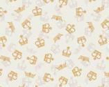 Britannia Metallic Gold - Crowns Cream from Lewis and Irene Fabric