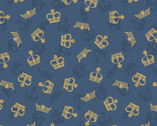 Britannia Metallic Gold - Crowns Dark Blue from Lewis and Irene Fabric