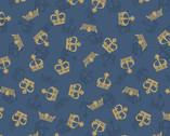 Britannia Metallic Gold - Crowns Dark Blue from Lewis and Irene Fabric