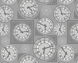 Britannia Metallic - Clock Face Grey from Lewis and Irene Fabric