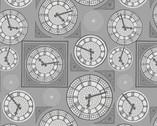 Britannia Metallic - Clock Face Grey from Lewis and Irene Fabric