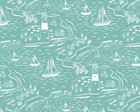 From Old Harry Rocks - Scenic Aqua from Lewis and Irene Fabric