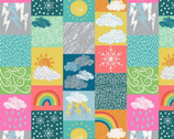 Whatever the Weather - Tiled Seasons Bright from Lewis and Irene Fabric