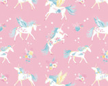 The Girls Collection - Floral Unicorns Pink by Laura Ashley from Camelot Fabrics