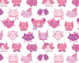 The Girls Collection - Cat Faces White by Laura Ashley from Camelot Fabrics