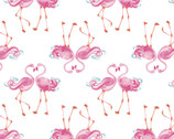 The Girls Collection - Flamingle White by Laura Ashley from Camelot Fabrics