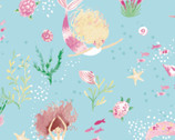 The Girls Collection - Mer-Girls Aqua by Laura Ashley from Camelot Fabrics