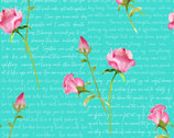 Love Letters - Words and Roses Aqua by Barb Tourtillotte from Henry Glass Fabric