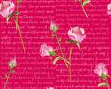 Love Letters - Words and Roses Dark Pink by Barb Tourtillotte from Henry Glass Fabric