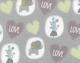 Gray Elephant Hearts FLANNEL from EE Schenck Fabric