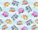 Color My World - Tossed Campers Blue from Studio E Fabrics
