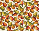 Harvest Gold - Elegant Pears Metallic Cream by Kanvas from Benartex Fabrics