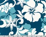 Island Paradise - Flowers Ocean Teal Blue from Robert Kaufman Fabrics