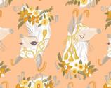 Llama Lands - Llama Peach Orange from Dear Stella Fabric