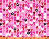 I Heart You - Mini Hearts Floral Pink by Another Point of View from Windham Fabrics