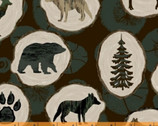 Home Sweet Cabin - Wood Slices Dark from Whistler Studios from Windham Fabrics
