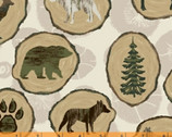 Home Sweet Cabin - Wood Slices Beige from Whistler Studios from Windham Fabrics