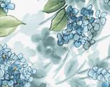 Watercolor Hydrangeas - Blue Hydrangea White from Maywood Studio Fabric