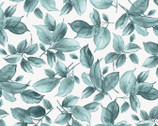 Watercolor Hydrangeas - Leaves Blue Teal from Maywood Studio Fabric