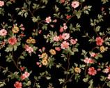 A Fruitful Life - Trailing Flowers Black from Maywood Studio Fabric