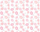Bunny Love - Tossed Flowers White from Springs Creative Fabric