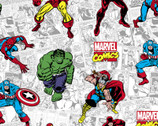 Marvel Retro - Characters White Grey from Springs Creative Fabric