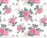 Fox Farm - Floral Rose Main White Sparkle by Melissa Mortensen from Riley Blake Fabric