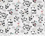 Panda Love Toss Light Gray FLANNEL from Riley Blake Fabric