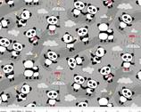Panda Love Toss Gray FLANNEL from Riley Blake Fabric