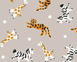 Mosaic Safari - Animals Toss Taupe from Springs Creative Fabric