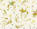 Glitter Animal OXFORD - Unicorn Cream from Kokka Fabric