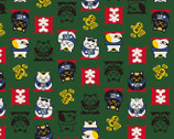 Fuku II - DOBBY Lucky Cats Green from Cosmo Fabric