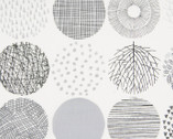 Simple Land II OXFORD - Geometric Circles Off White Monotone from Cosmo Fabric