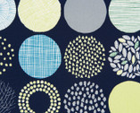 Simple Land II OXFORD - Geometric Circles Dark Blue from Cosmo Fabric